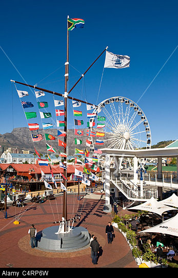 Flag pole and Wheel of Excellence at V&A Waterfront in Cape Town South Afdrica